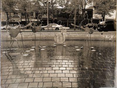 Der Beatlesplatz mit den 4 Metallskulpturen der Beatles