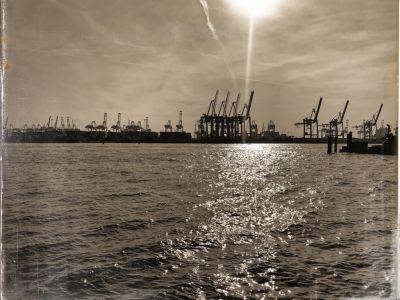 Die Elbe im Hintergrund mit Kränen des Containerhafens